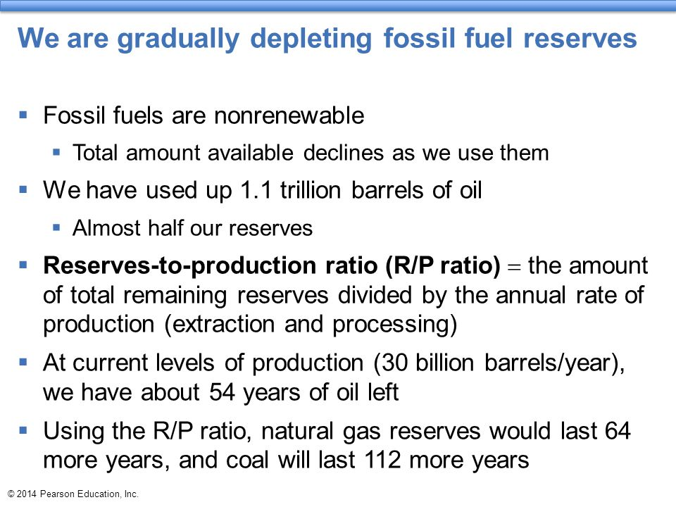 We are gradually depleting fossil fuel reserves  Fossil fuels are nonrenewable  Total amount available declines as we use them  We have used up 1.1