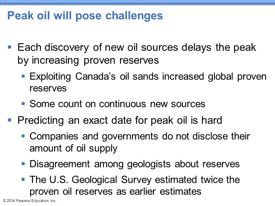 Peak oil will pose challenges  Each discovery of new oil sources delays the peak by increasing proven reserves  Exploiting Canada's oil sands increa