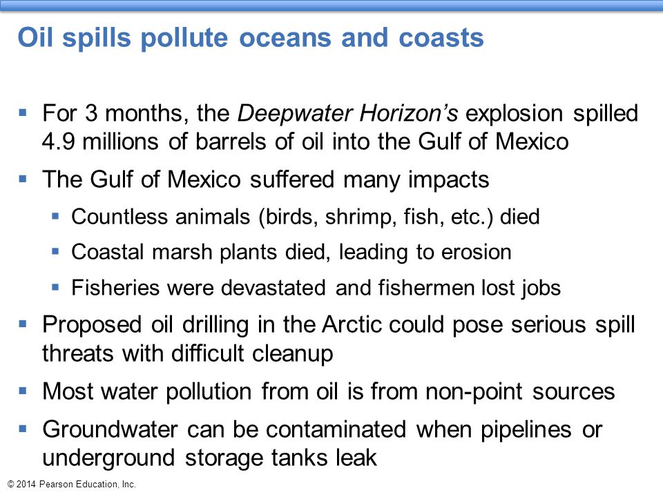 Oil spills pollute oceans and coasts  For 3 months, the Deepwater Horizon's explosion spilled 4.9 millions of barrels of oil into the Gulf of Mexico