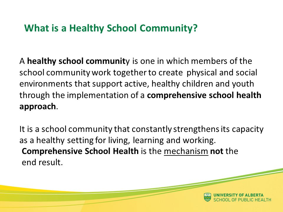 What is a Healthy School Community? A healthy school community is one in which members of the school community work together to create physical and so