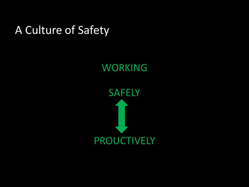 A Culture of Safety WORKING SAFELY PROUCTIVELY