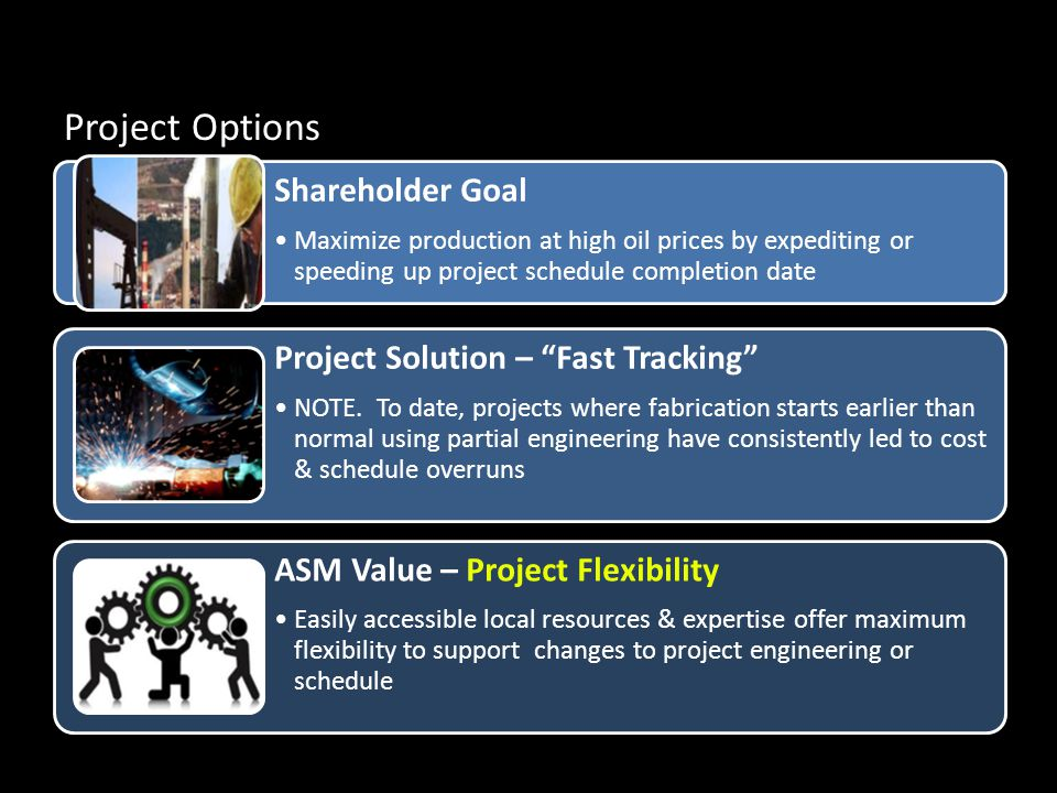Project Options Shareholder Goal Maximize production at high oil prices by expediting or speeding up project schedule completion date Project Solution – Fast Tracking NOTE.
