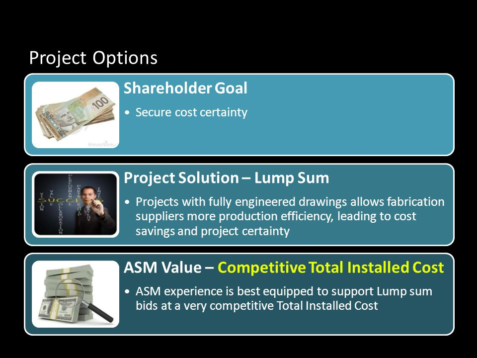 Project Options Shareholder Goal Secure cost certainty Project Solution – Lump Sum Projects with fully engineered drawings allows fabrication suppliers more production efficiency, leading to cost savings and project certainty ASM Value – Competitive Total Installed Cost ASM experience is best equipped to support Lump sum bids at a very competitive Total Installed Cost