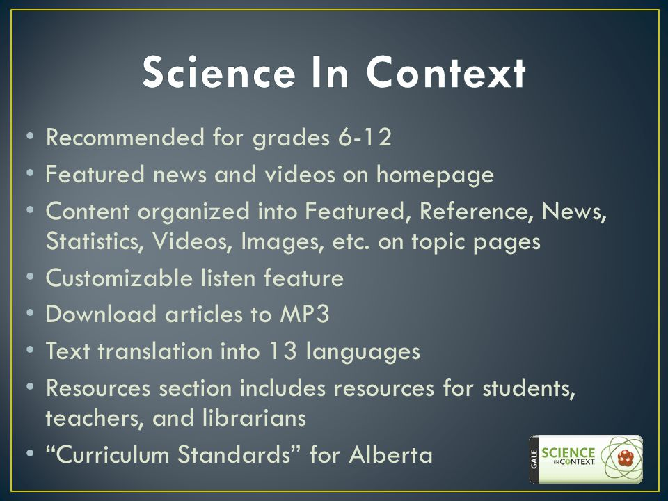 Recommended for grades 6-12 Featured news and videos on homepage Content organized into Featured, Reference, News, Statistics, Videos, Images, etc.