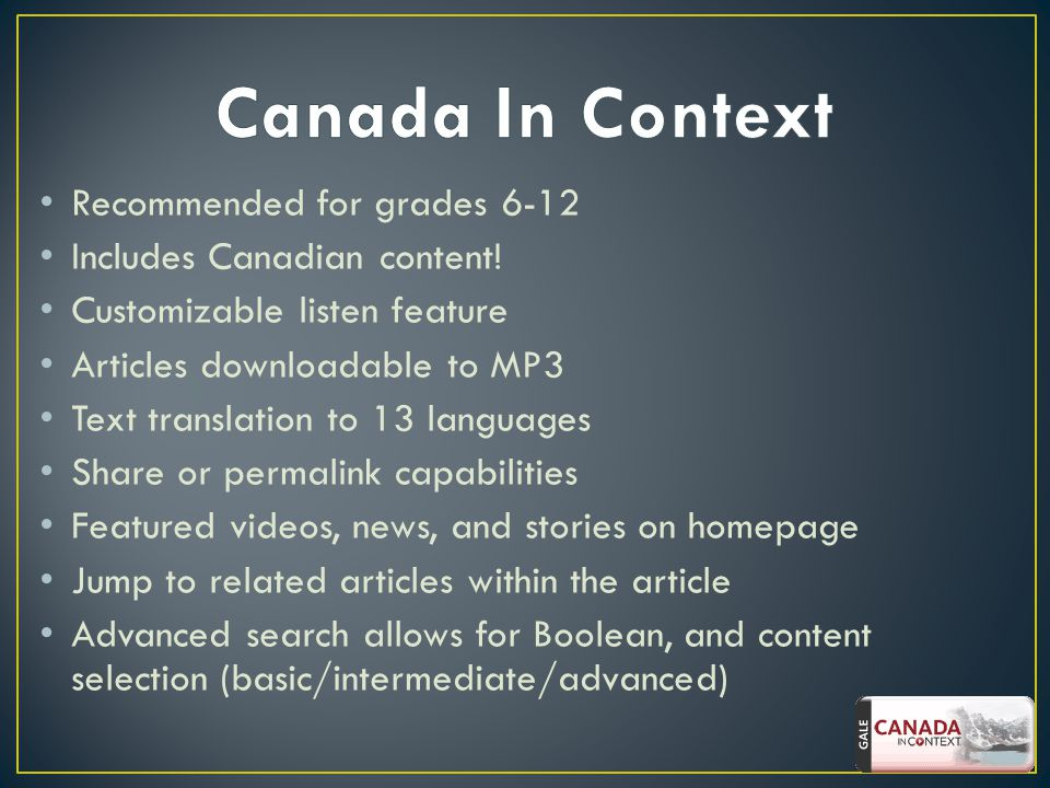 Recommended for grades 6-12 Includes Canadian content.