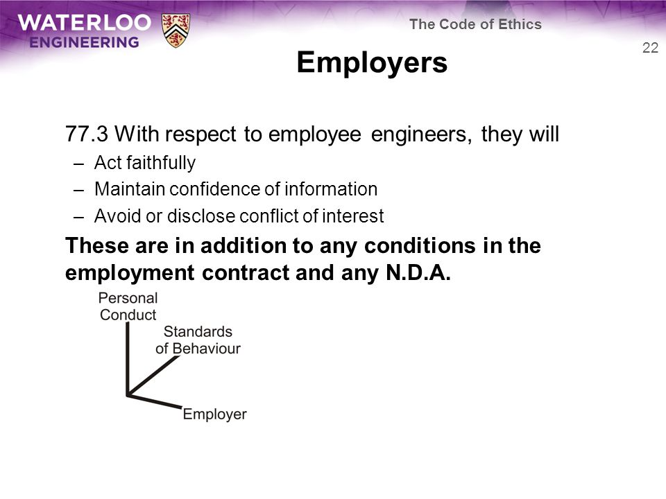 Employers 77.3 With respect to employee engineers, they will –Act faithfully –Maintain confidence of information –Avoid or disclose conflict of interest These are in addition to any conditions in the employment contract and any N.D.A.