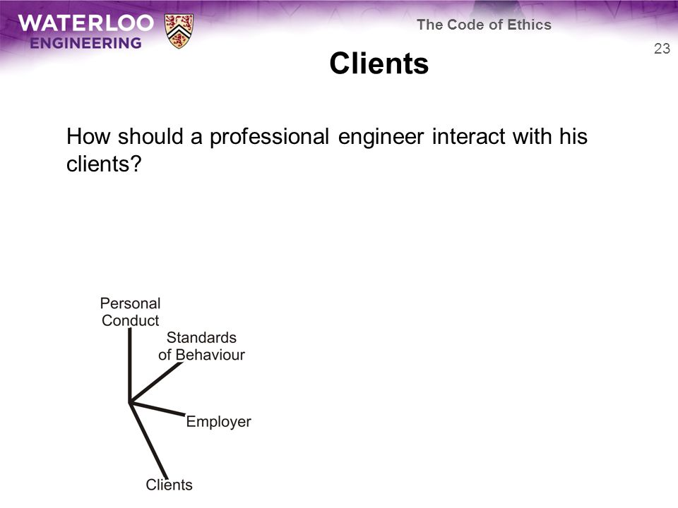 Clients How should a professional engineer interact with his clients 23 The Code of Ethics