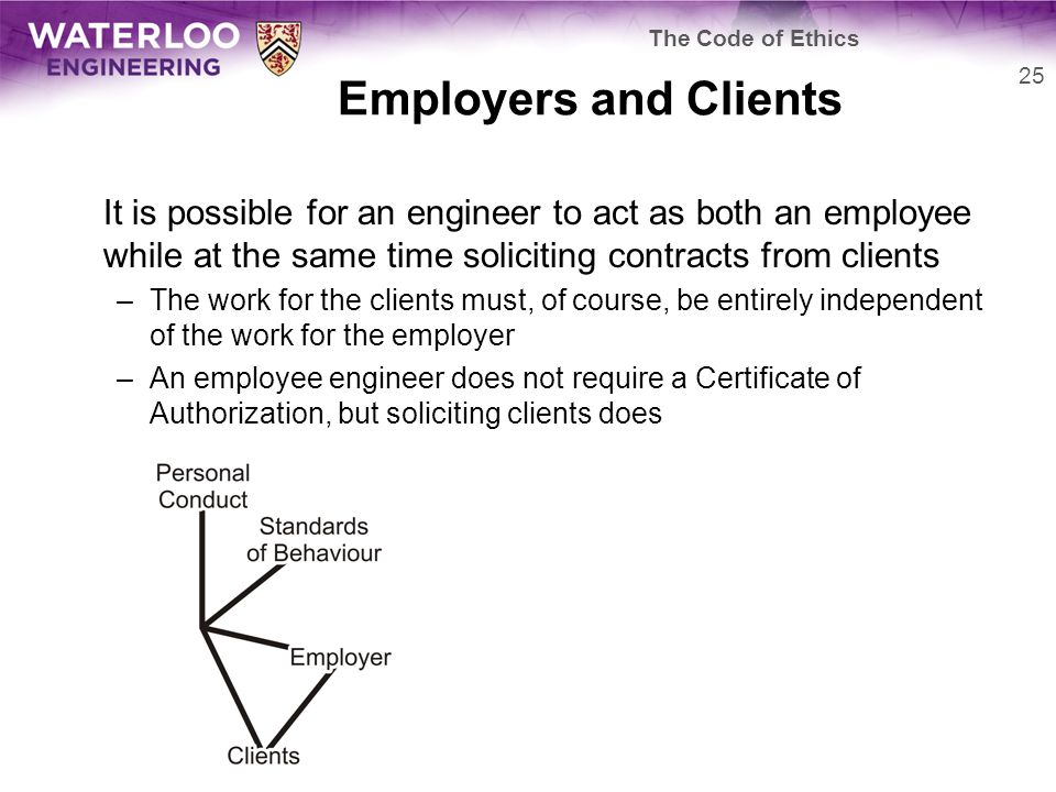 Employers and Clients It is possible for an engineer to act as both an employee while at the same time soliciting contracts from clients –The work for the clients must, of course, be entirely independent of the work for the employer –An employee engineer does not require a Certificate of Authorization, but soliciting clients does 25 The Code of Ethics