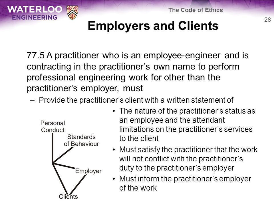 Employers and Clients 77.5 A practitioner who is an employee-engineer and is contracting in the practitioner's own name to perform professional engineering work for other than the practitioner s employer, must –Provide the practitioner's client with a written statement of The nature of the practitioner's status as an employee and the attendant limitations on the practitioner's services to the client Must satisfy the practitioner that the work will not conflict with the practitioner's duty to the practitioner's employer Must inform the practitioner's employer of the work 28 The Code of Ethics