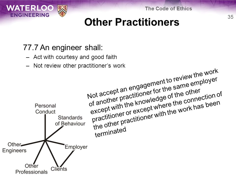 Other Practitioners 77.7 An engineer shall: –Act with courtesy and good faith –Not review other practitioner's work 35 The Code of Ethics Not accept a