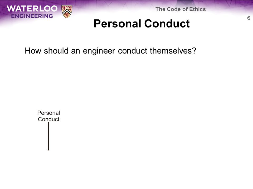 Personal Conduct How should an engineer conduct themselves 6 The Code of Ethics