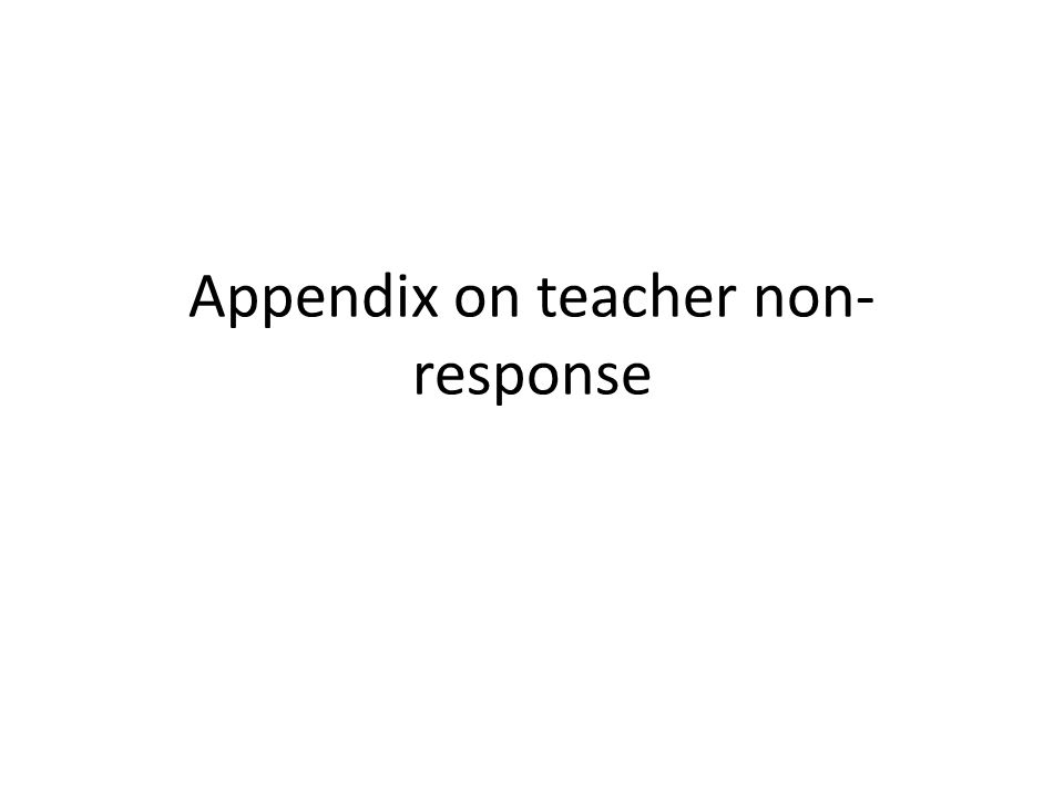 A linear probability model of teacher non-response Some minor differences observed between sampled and participating teachers.....
