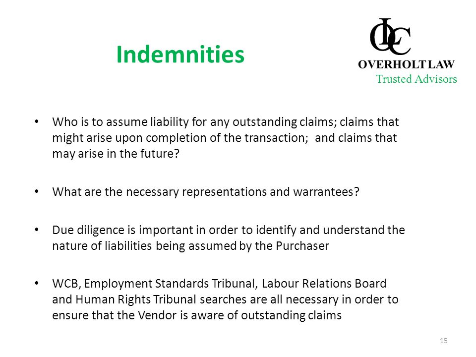 Indemnities Who is to assume liability for any outstanding claims; claims that might arise upon completion of the transaction; and claims that may ari
