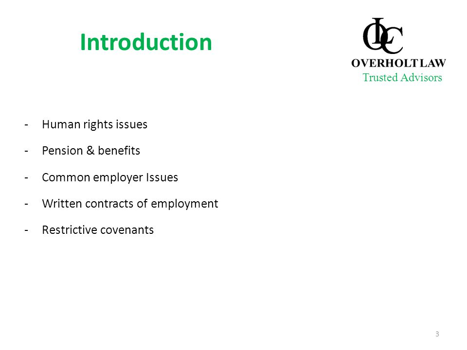 -Human rights issues -Pension & benefits -Common employer Issues -Written contracts of employment -Restrictive covenants 3 Trusted Advisors Introducti