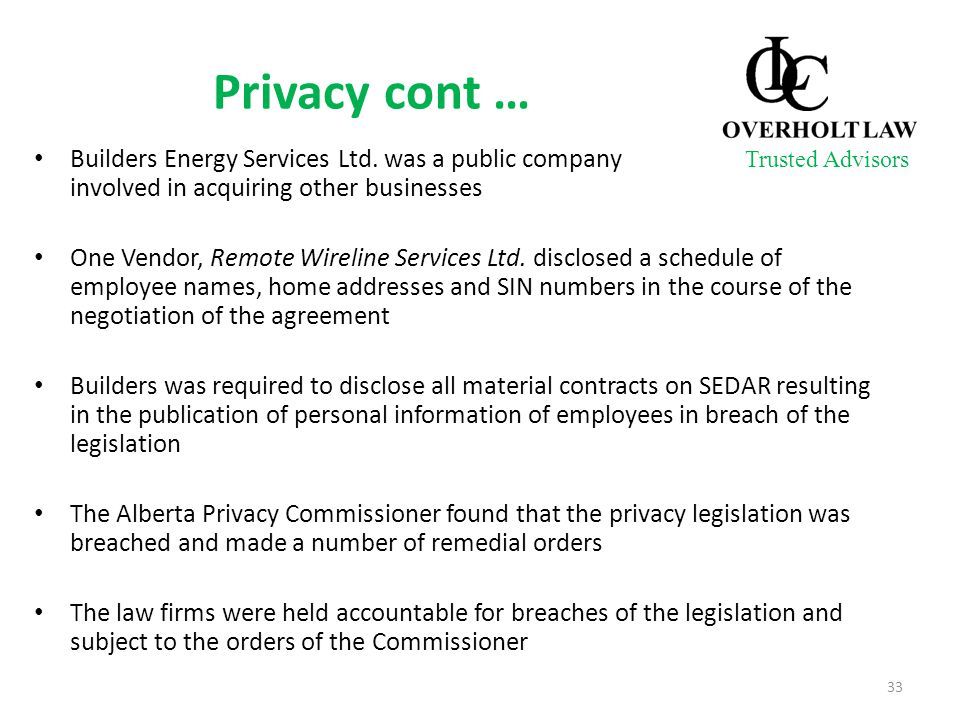 Privacy cont … Builders Energy Services Ltd.