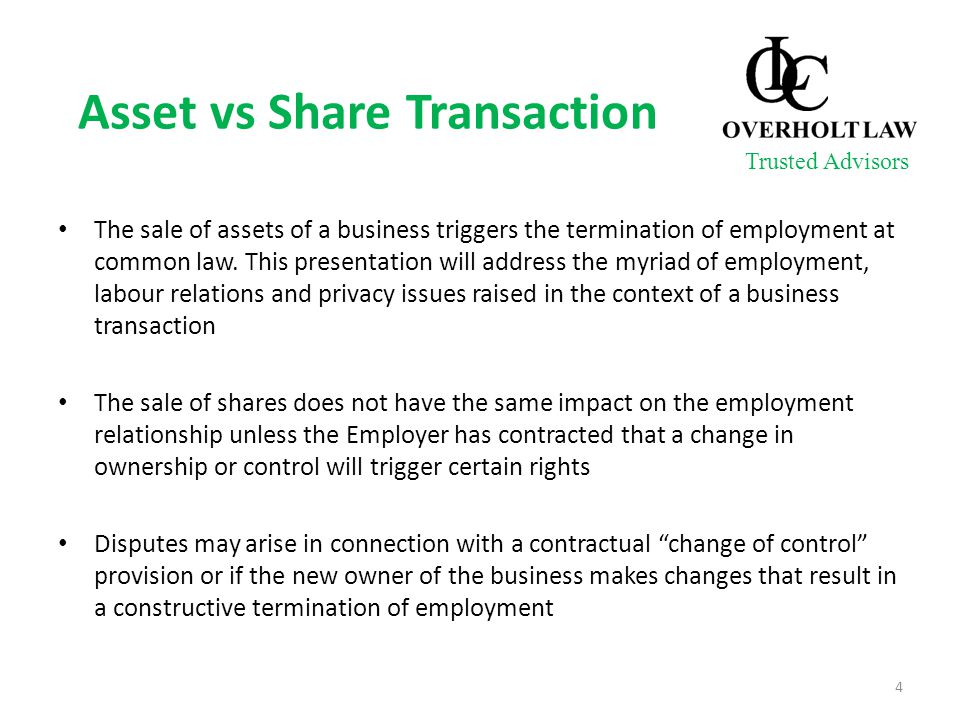 Asset vs Share Transaction The sale of assets of a business triggers the termination of employment at common law. This presentation will address the m