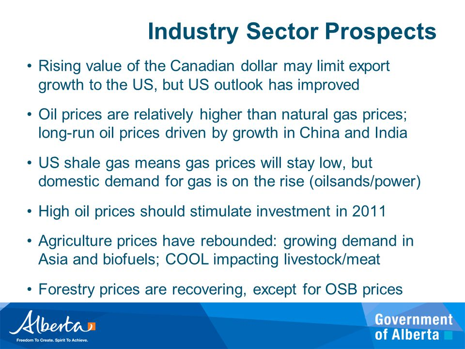 Industry Sector Prospects Rising value of the Canadian dollar may limit export growth to the US, but US outlook has improved Oil prices are relatively higher than natural gas prices; long-run oil prices driven by growth in China and India US shale gas means gas prices will stay low, but domestic demand for gas is on the rise (oilsands/power) High oil prices should stimulate investment in 2011 Agriculture prices have rebounded: growing demand in Asia and biofuels; COOL impacting livestock/meat Forestry prices are recovering, except for OSB prices