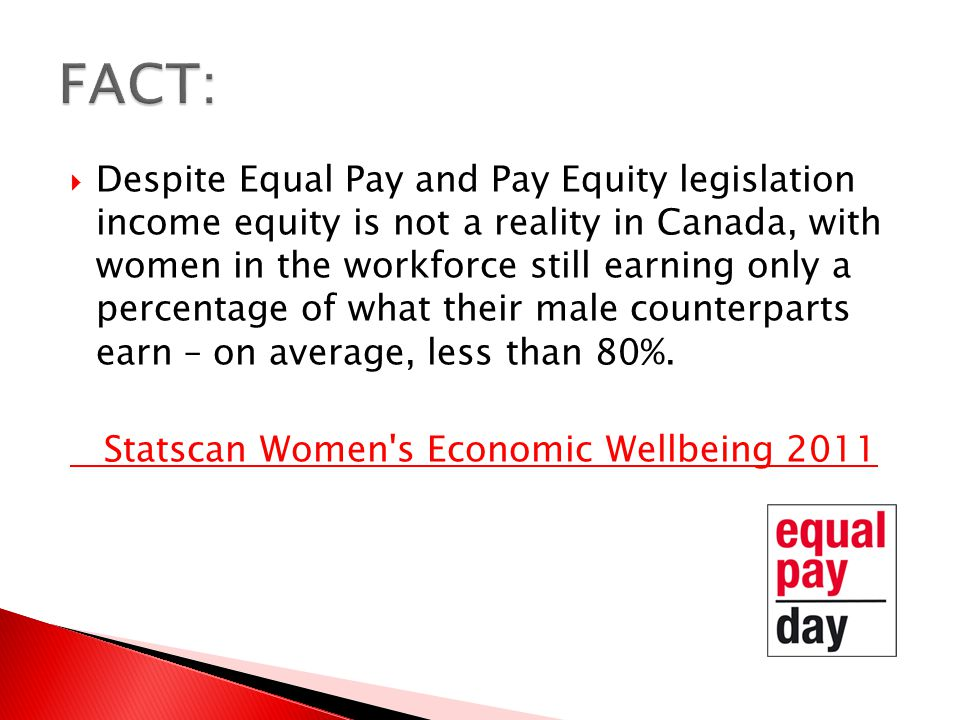  Despite Equal Pay and Pay Equity legislation income equity is not a reality in Canada, with women in the workforce still earning only a percentage of what their male counterparts earn – on average, less than 80%.