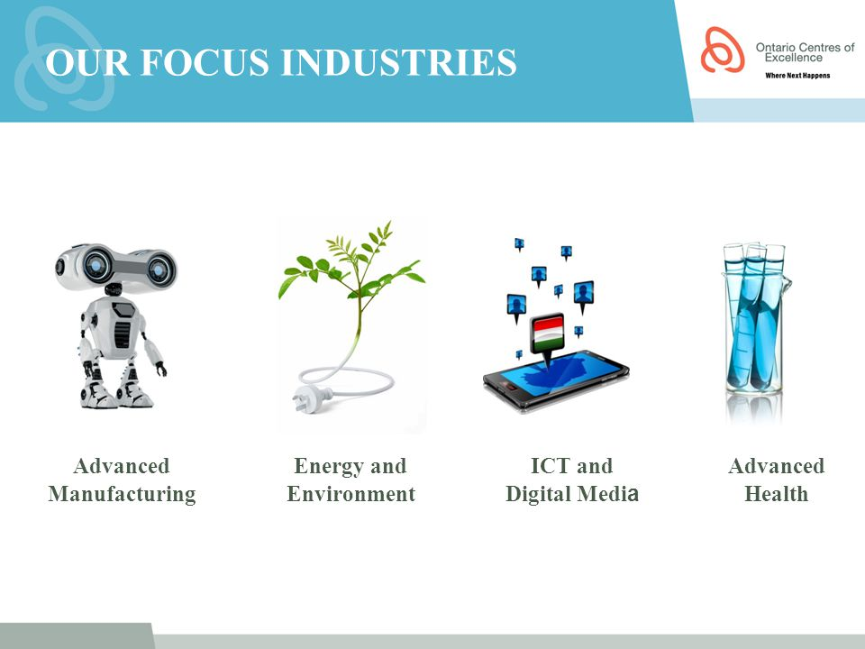 Advanced Manufacturing Energy and Environment ICT and Digital Medi a Advanced Health OUR FOCUS INDUSTRIES
