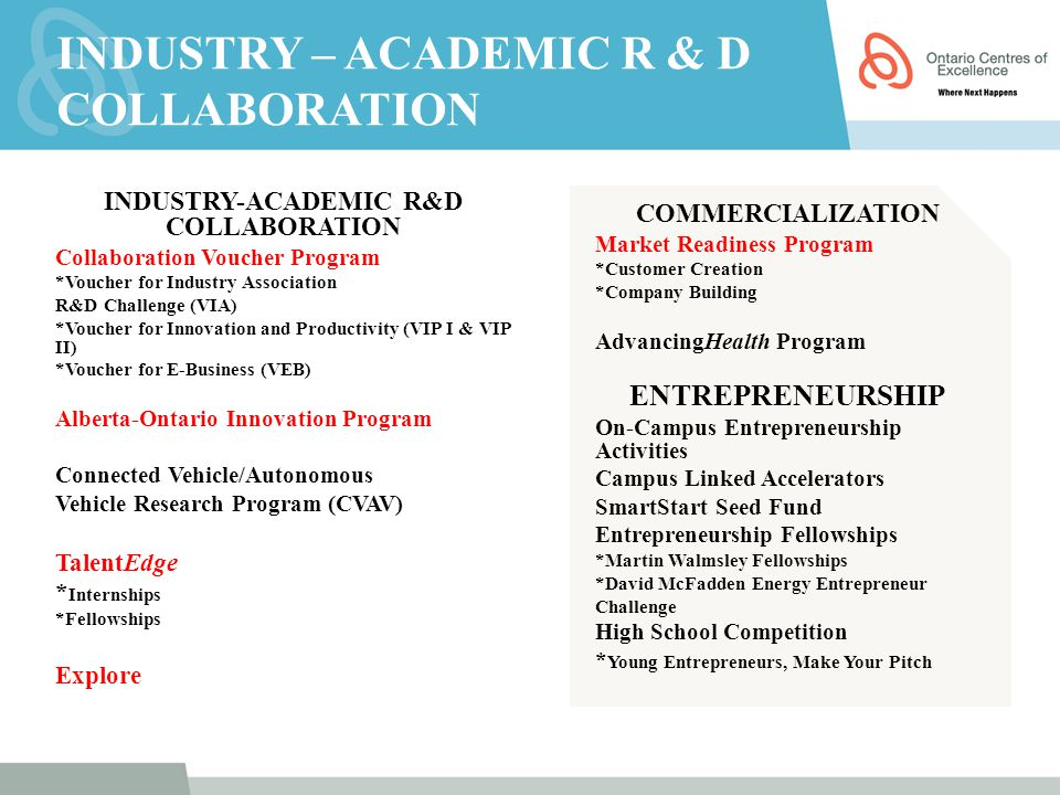 INDUSTRY – ACADEMIC R & D COLLABORATION INDUSTRY-ACADEMIC R&D COLLABORATION Collaboration Voucher Program *Voucher for Industry Association R&D Challe