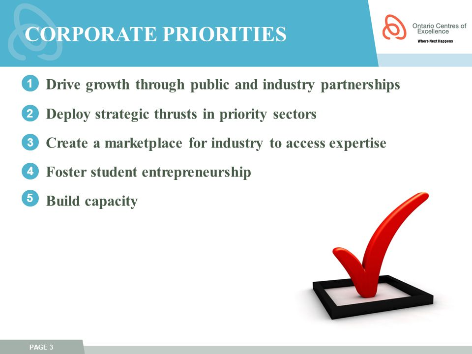 PAGE 3 Drive growth through public and industry partnerships Deploy strategic thrusts in priority sectors Create a marketplace for industry to access