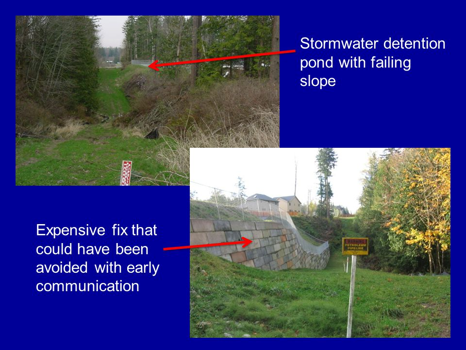 Stormwater detention pond with failing slope Expensive fix that could have been avoided with early communication