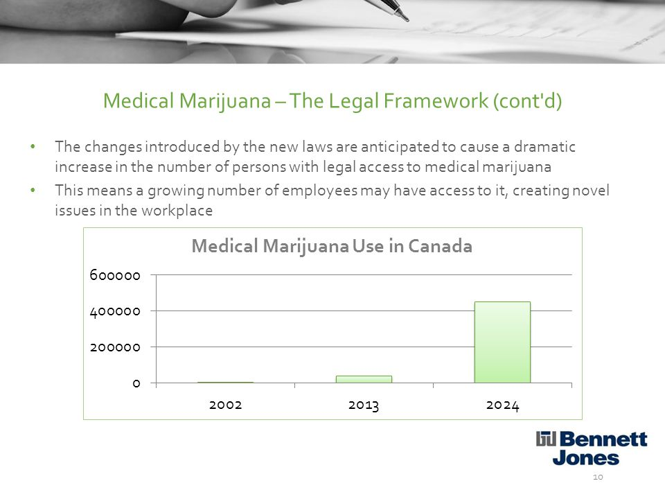 The changes introduced by the new laws are anticipated to cause a dramatic increase in the number of persons with legal access to medical marijuana This means a growing number of employees may have access to it, creating novel issues in the workplace 10 Medical Marijuana – The Legal Framework (cont d)
