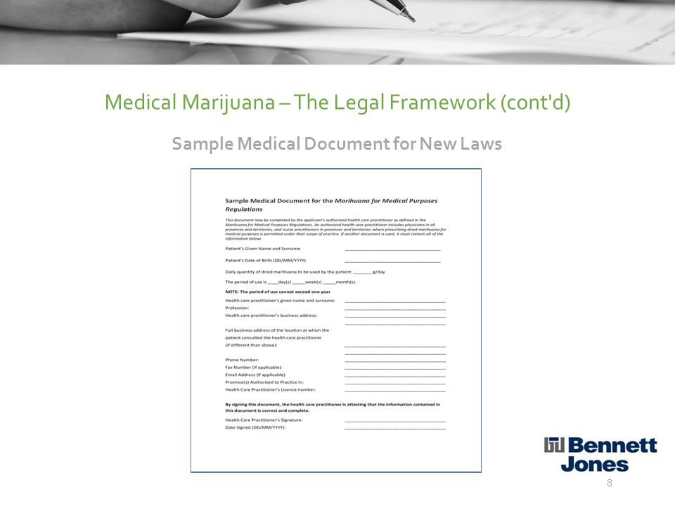 IssueOld LawsNew Laws Approved for use with a limited set of illnessesYesNo Doctors have to claim marijuana is a viable treatmentYesNo Large application forms (20 pages or more)YesNo Specialist medical consultations requiredYesNo Supply from Health CanadaYesNo Personal production licensesYesNo Enforceable production quality standardsNoYes 9 Medical Marijuana – The Legal Framework (cont d) Comparing the Old Laws to the New Laws