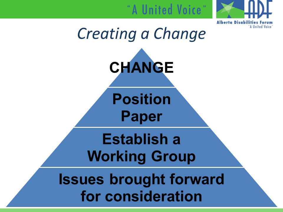 Creating a Change CHANGE Position Paper Establish a Working Group Issues brought forward for consideration