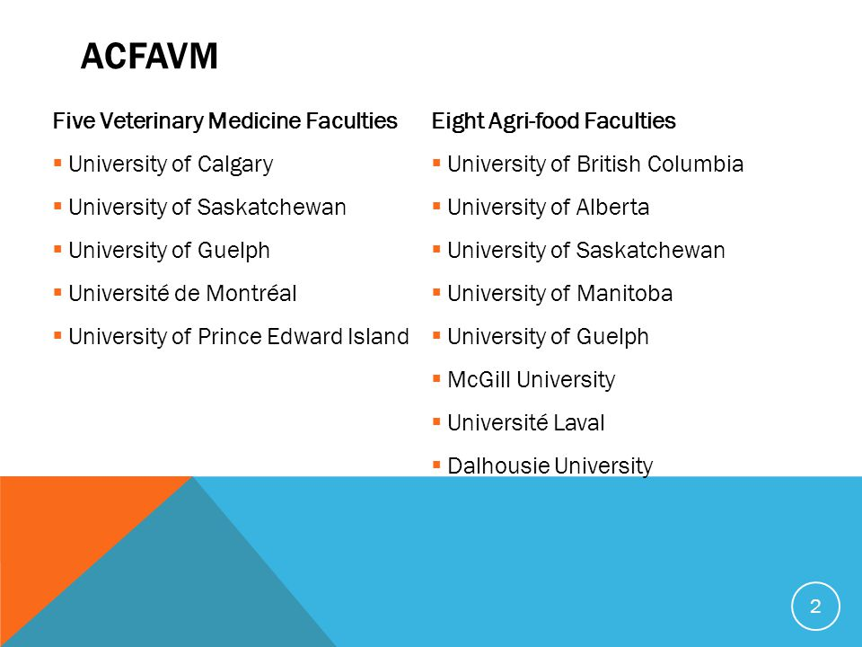 ACFAVM Five Veterinary Medicine Faculties  University of Calgary  University of Saskatchewan  University of Guelph  Université de Montréal  University of Prince Edward Island Eight Agri-food Faculties  University of British Columbia  University of Alberta  University of Saskatchewan  University of Manitoba  University of Guelph  McGill University  Université Laval  Dalhousie University 2