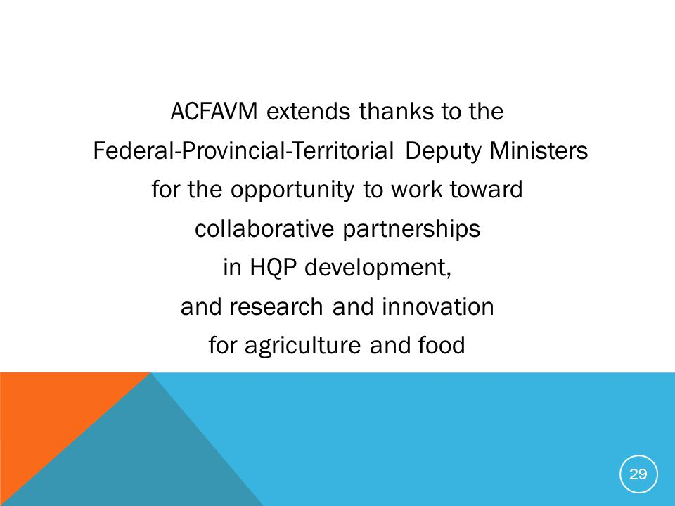 ACFAVM extends thanks to the Federal-Provincial-Territorial Deputy Ministers for the opportunity to work toward collaborative partnerships in HQP deve
