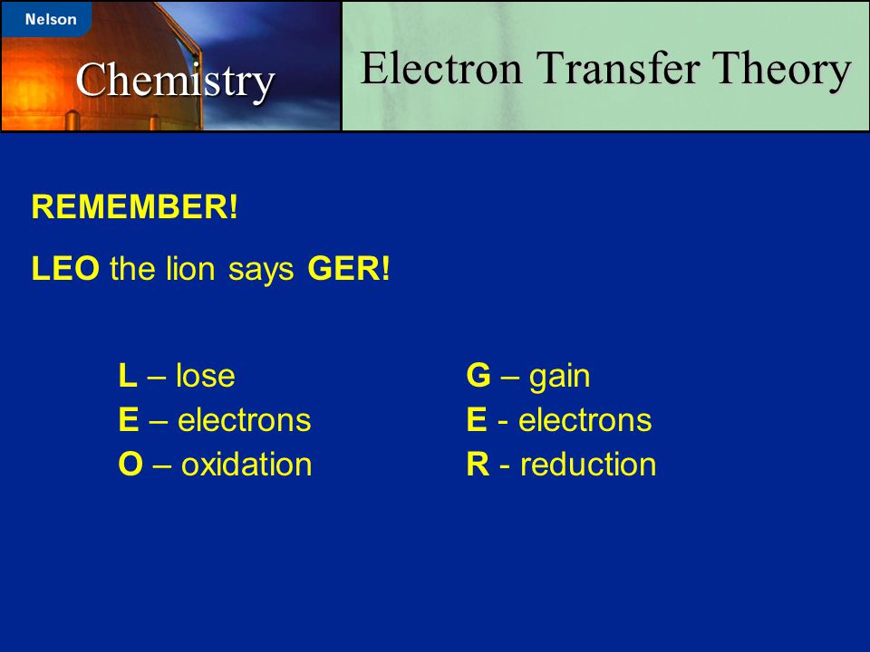 Electron Transfer Theory Chemistry REMEMBER! LEO the lion says GER! L – loseG – gain E – electronsE - electrons O – oxidationR - reduction