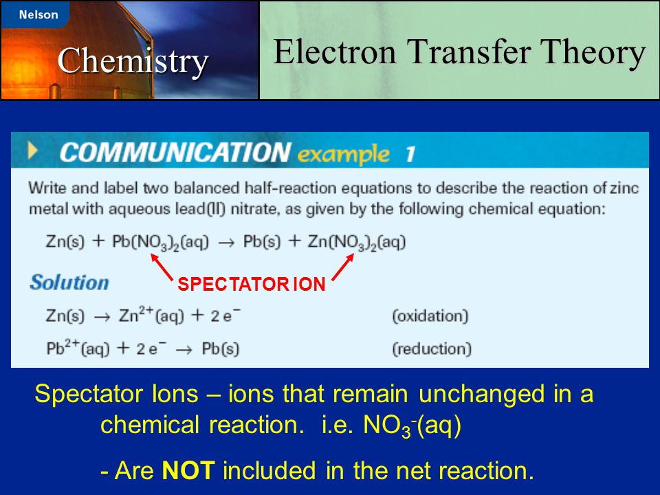 Electron Transfer Theory Chemistry Spectator Ions – ions that remain unchanged in a chemical reaction. i.e. NO 3 - (aq) - Are NOT included in the net