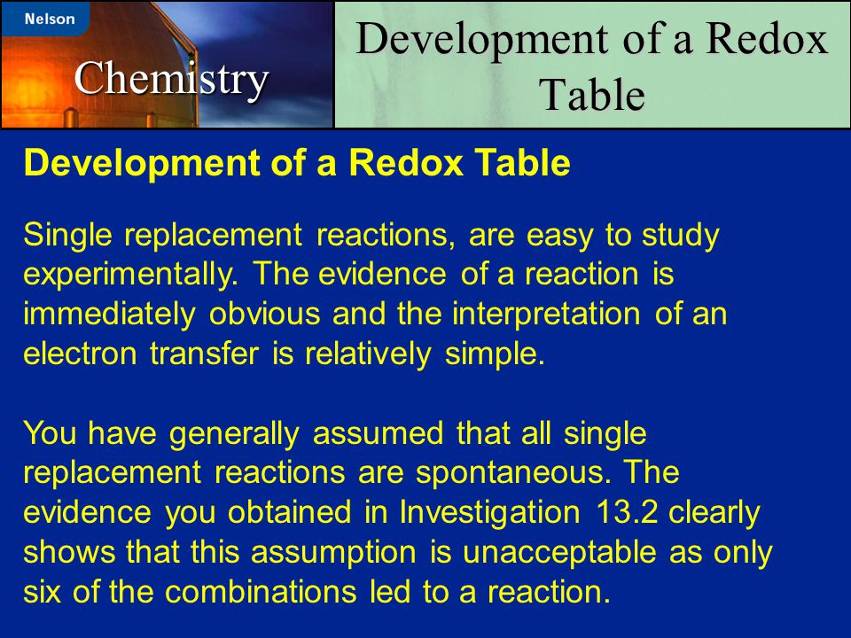 Development of a Redox Table Chemistry Single replacement reactions, are easy to study experimentally. The evidence of a reaction is immediately obvio