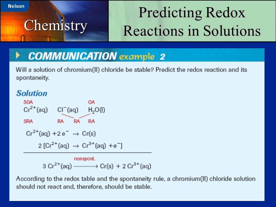 Predicting Redox Reactions in Solutions Chemistry