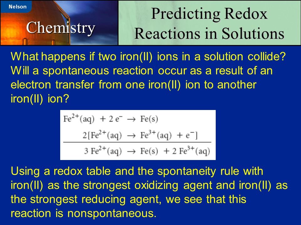 Chemistry What happens if two iron(II) ions in a solution collide? Will a spontaneous reaction occur as a result of an electron transfer from one iron