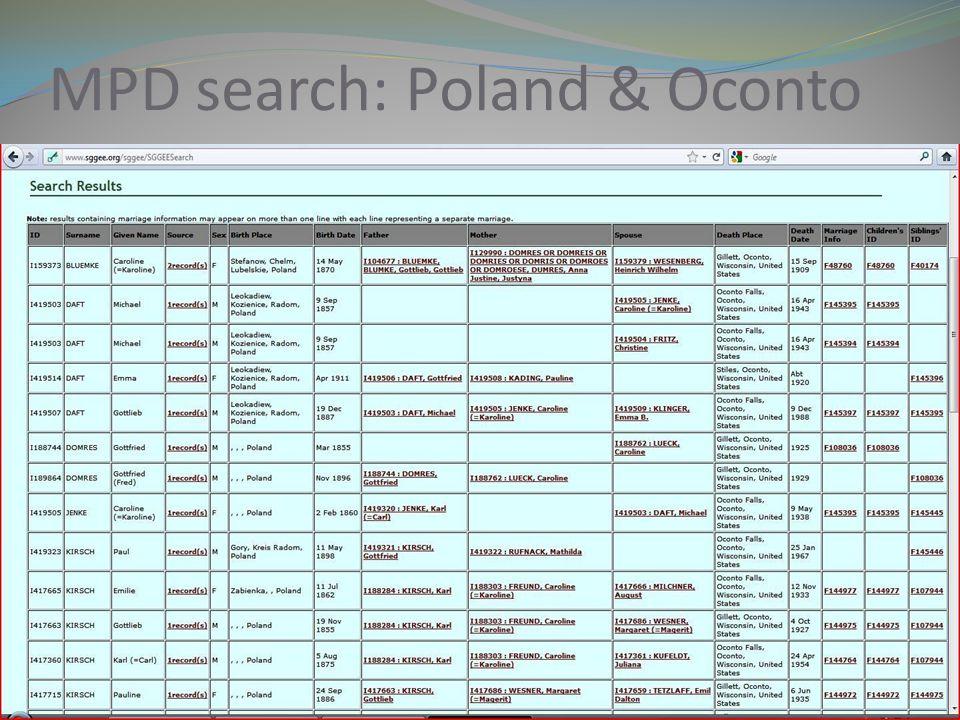 MPD search: Poland & Oconto