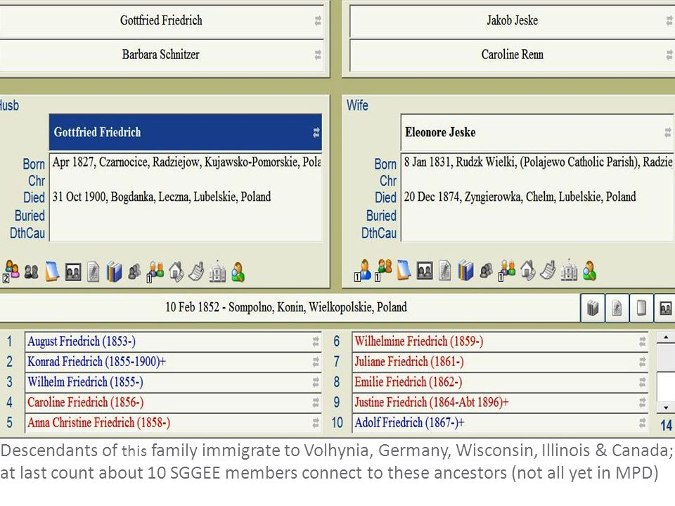 Descendants of this family immigrate to Volhynia, Germany, Wisconsin, Illinois & Canada; at last count about 10 SGGEE members connect to these ancesto