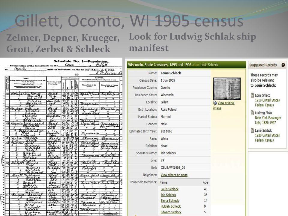 Gillett, Oconto, WI 1905 census Zelmer, Depner, Krueger, Grott, Zerbst & Schleck Look for Ludwig Schlak ship manifest