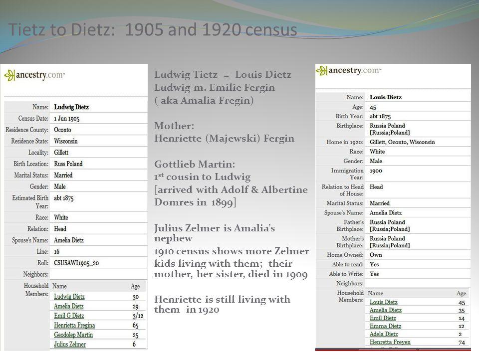 Tietz to Dietz: 1905 and 1920 census Ludwig Tietz = Louis Dietz Ludwig m. Emilie Fergin ( aka Amalia Fregin) Mother: Henriette (Majewski) Fergin Gottl