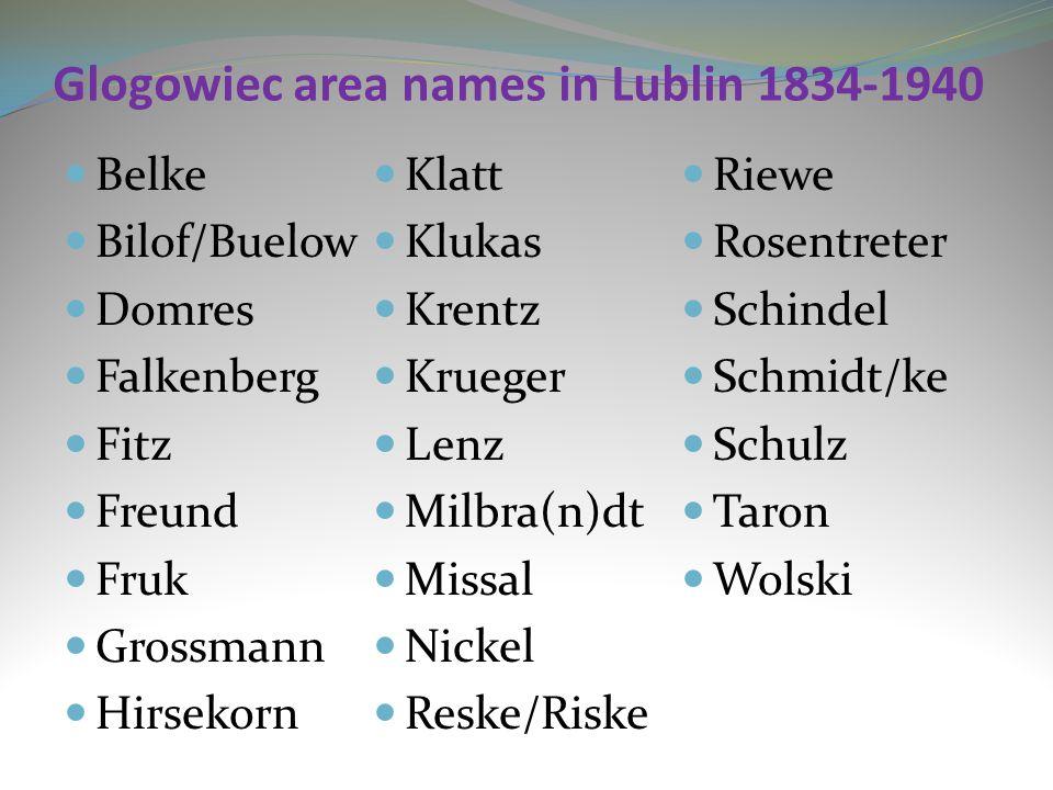 Glogowiec area names in Lublin 1834-1940 Belke Bilof/Buelow Domres Falkenberg Fitz Freund Fruk Grossmann Hirsekorn Klatt Klukas Krentz Krueger Lenz Mi