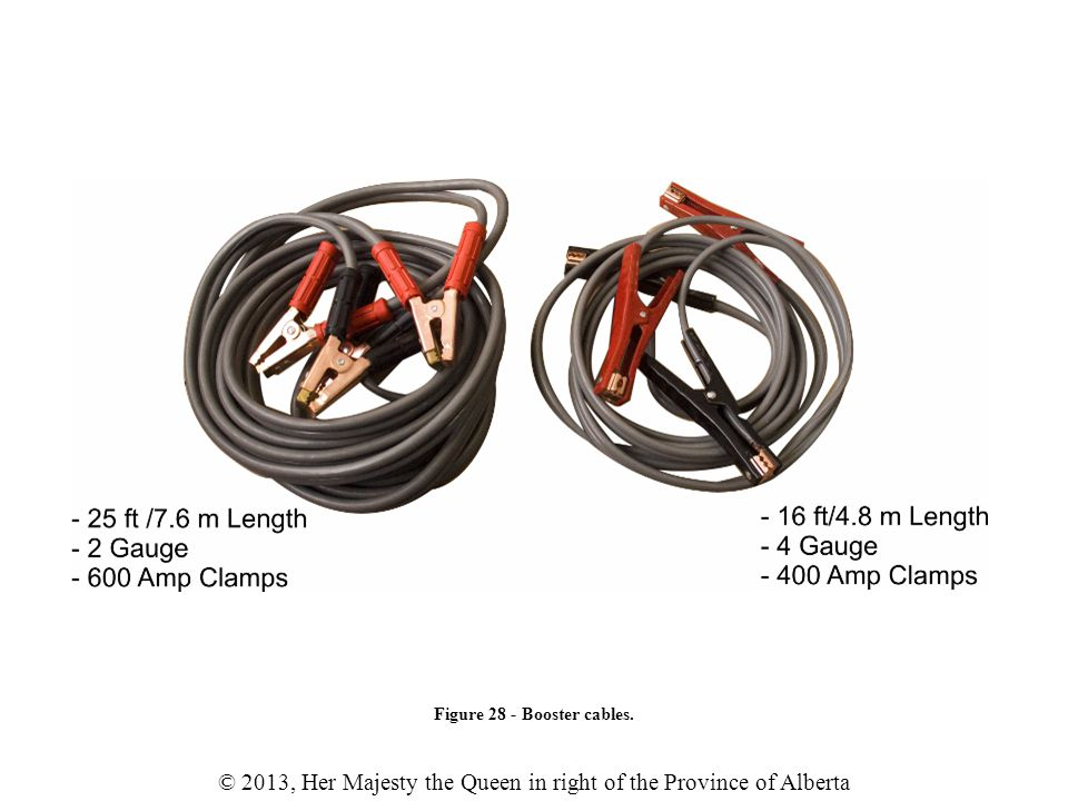 © 2013, Her Majesty the Queen in right of the Province of Alberta Figure 28 - Booster cables.