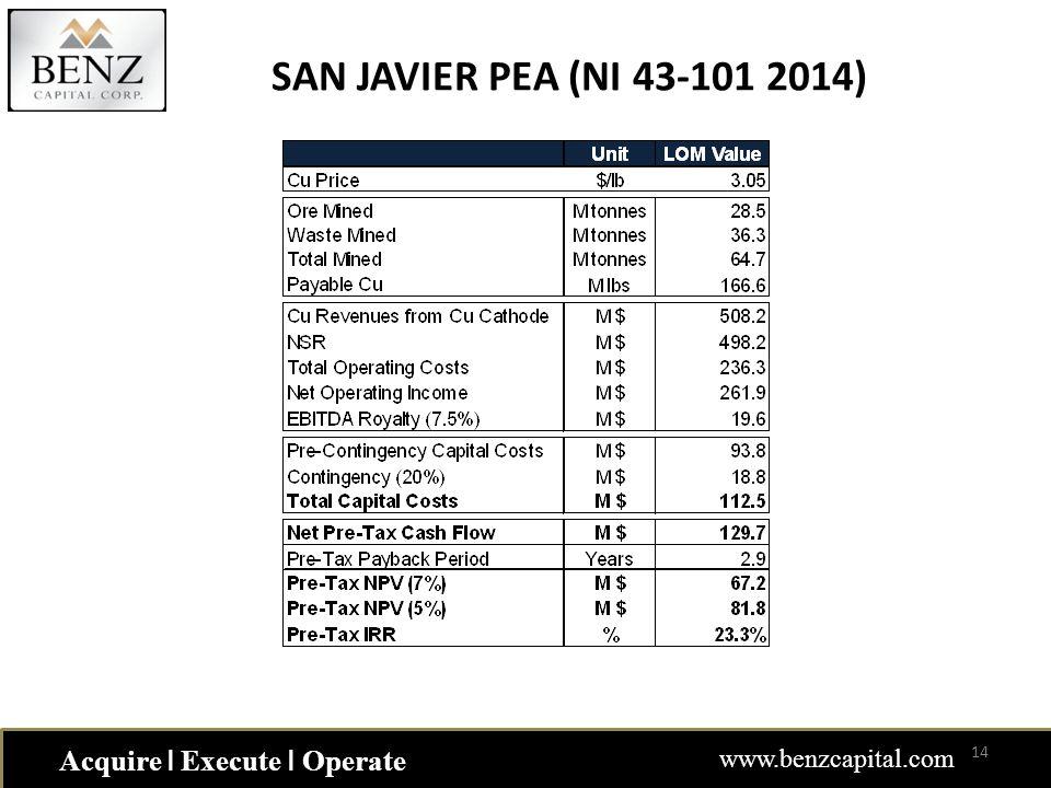 Acquire ǀ Execute ǀ Operate www.benzcapital.com SAN JAVIER PEA (NI 43-101 2014) 14