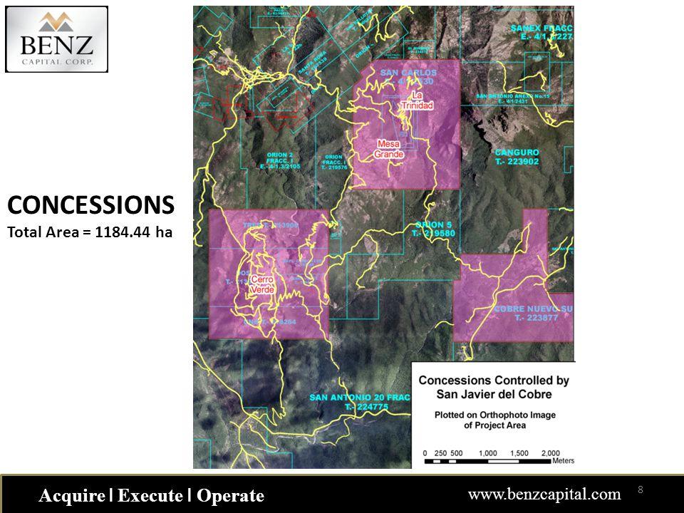 Acquire ǀ Execute ǀ Operate www.benzcapital.com CONCESSIONS Total Area = 1184.44 ha 8