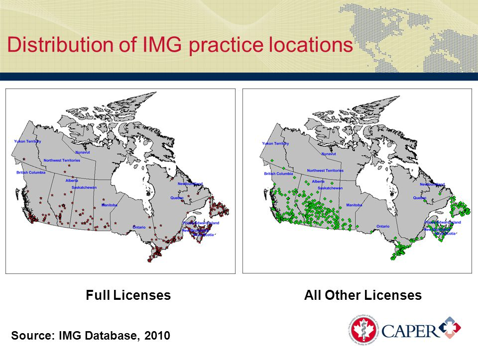 Distribution of IMG practice locations Full LicensesAll Other Licenses Source: IMG Database, 2010