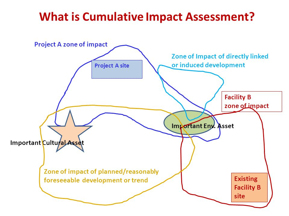 What is Cumulative Impact Assessment. Project A site Project A zone of impact Important Env.