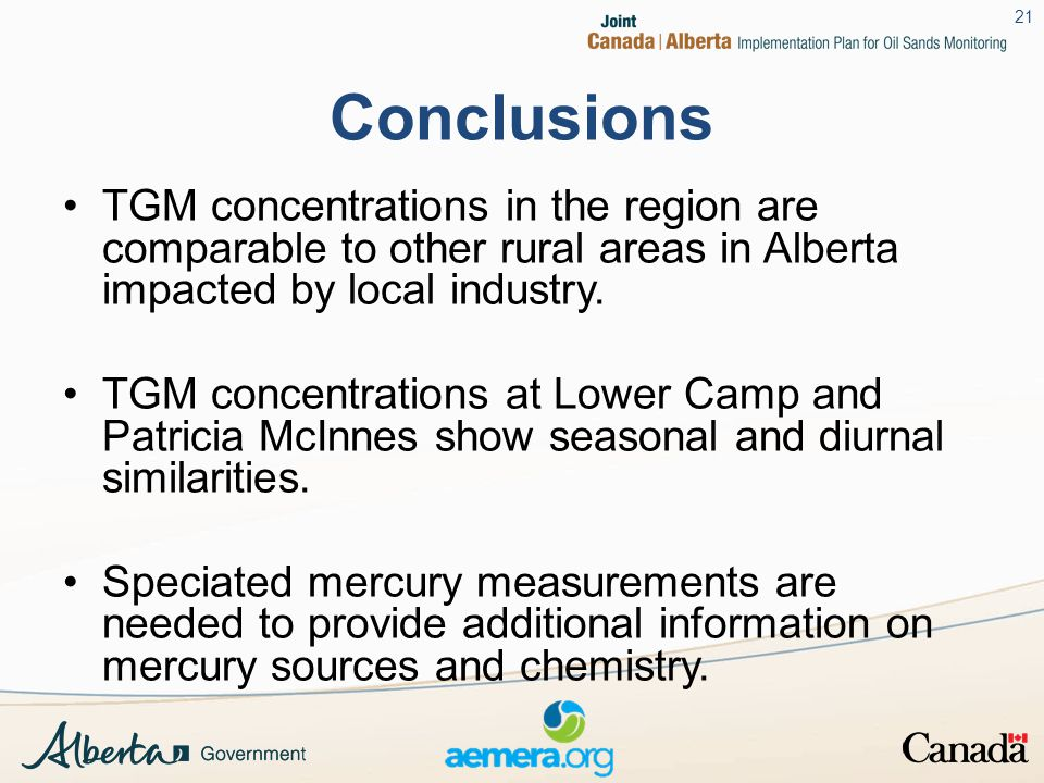 Conclusions TGM concentrations in the region are comparable to other rural areas in Alberta impacted by local industry.