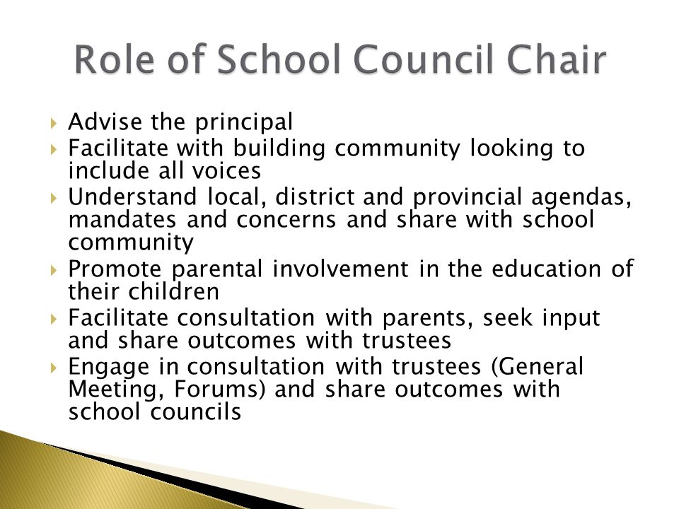  Advise the principal  Facilitate with building community looking to include all voices  Understand local, district and provincial agendas, mandate