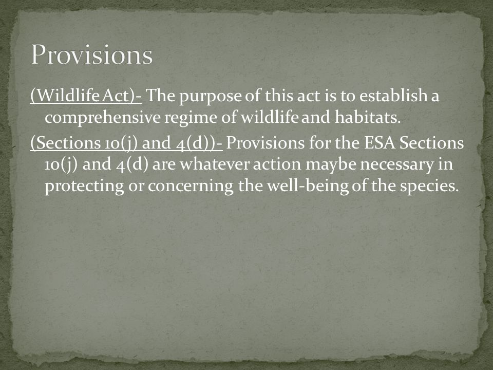 (Wildlife Act)- The purpose of this act is to establish a comprehensive regime of wildlife and habitats.