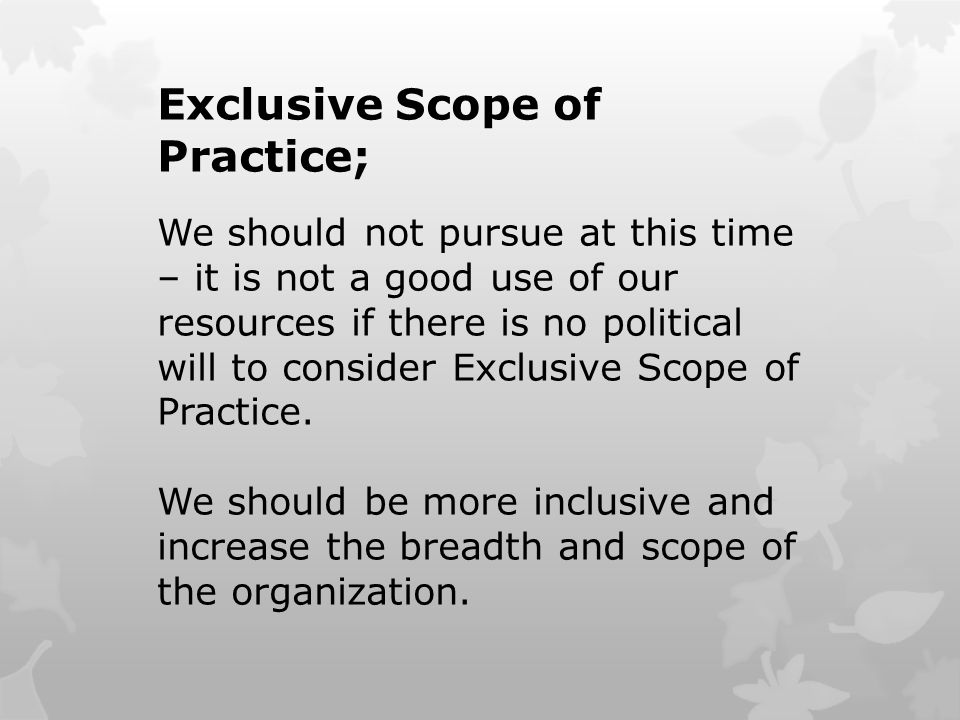 Exclusive Scope of Practice; We should not pursue at this time – it is not a good use of our resources if there is no political will to consider Exclusive Scope of Practice.